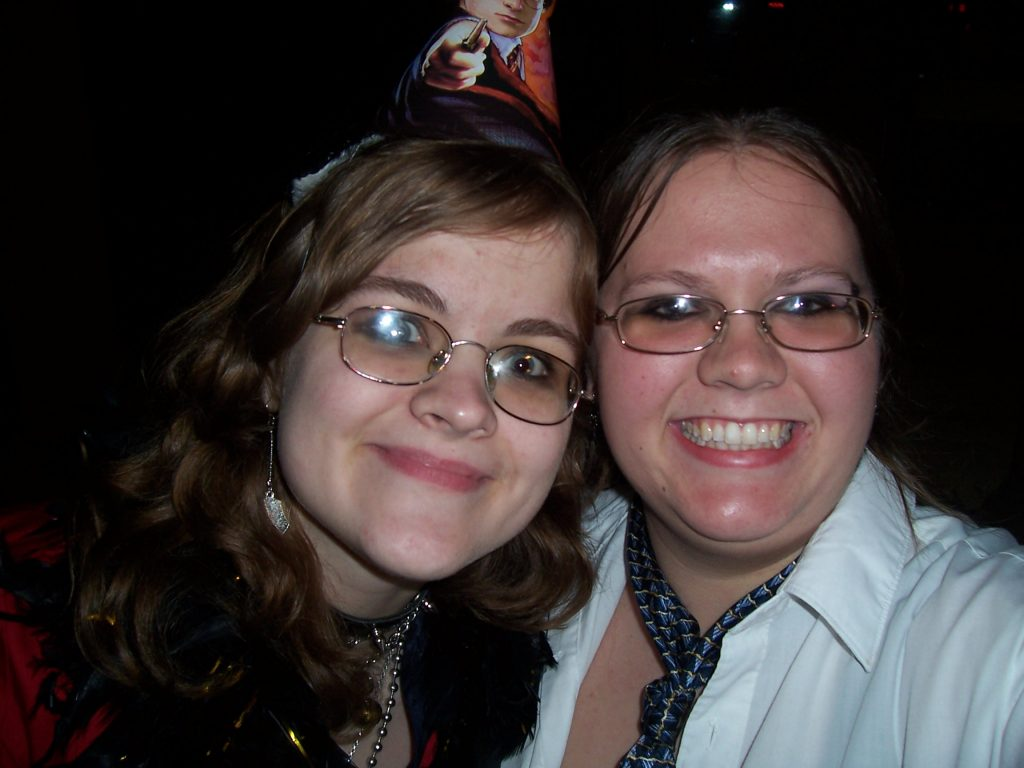 Picture of author (Melissa) with her friend Ammy on Ammy's 18th birthday. We went to see Rocky Horror with a live cast. It was one of the places where it was extremely difficult for us to terrorize people, because well, have you been to Rocky Horror?
